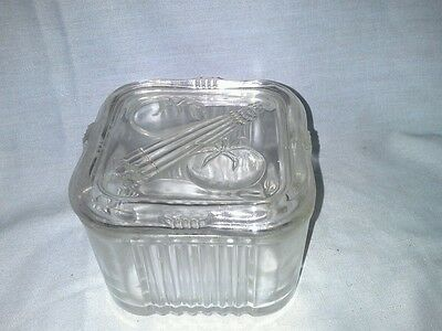 Federal glass refrigerator dish with cover small square vintage vegetable clear