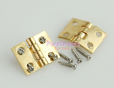 24 Miniature Hinges for Doll's house Furniture Brass Hardware W/ Screws 8x10mm