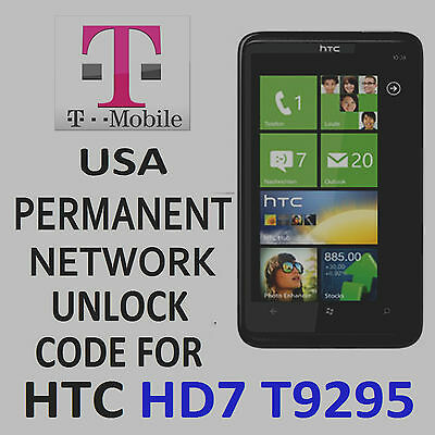 Htc Permanent Network Unlocking Pin/Code  For T-Mobile Htc Hd7 T9295