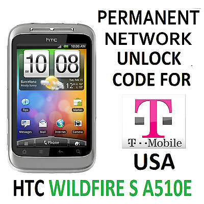 Htc Permanent Network Unlocking Pin/code  For T-Mobile Htc Wildfire S A510E