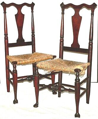 "Pr side chairs & footstool, Hudson River Valley, Queen Anne, marked, 40""t"