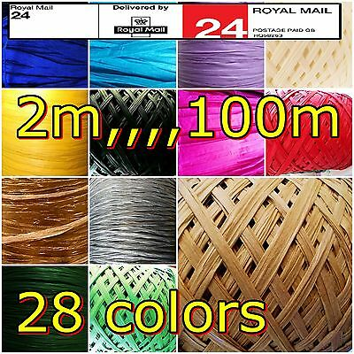 Paper Raffia Ribbon Colorus Gold,Silve, Red,Green,decorative flowers craft party