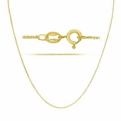 18k Gold over Sterling Silver 1mm Thin Box Chain Pendant Necklace ALL LENGTHS