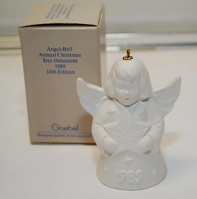 Goebel 1989 white Angel Christmas Tree Ornament Bell  in box.