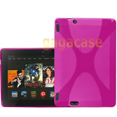 Pink Amazon Kindle Fire HDX 7 Inch TPU Gel Case Skin Cover +Screen Protector
