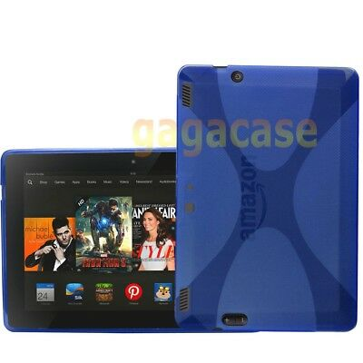Blue Amazon Kindle Fire HDX 8.9 Inch TPU Gel Case Skin Cover +Screen Protector
