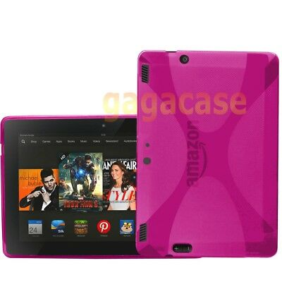 Pink Amazon Kindle Fire HDX 8.9 Inch TPU Gel Case Skin Cover +Screen Protector