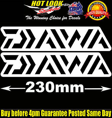 2 Daiwa Fishing Boat Reel Rod Sticker Vinyl Decal Set for dinghy tackle Box