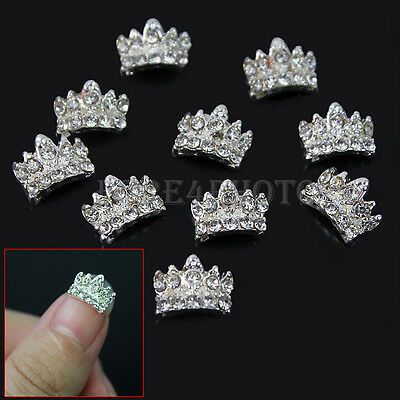 10pcs Silver Crystal Lovely 3D Alloy Rhinestone Crown Nail Art Tips Decorations