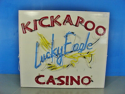 "KICKAPOO SIGN 11 1/2"" x 72"" x 63"" neon needs repair"