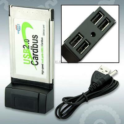 4 Port USB 2.0 Hub to CardBus PCMCIA PC Card Adapter For 32 Bit Notebook Laptop