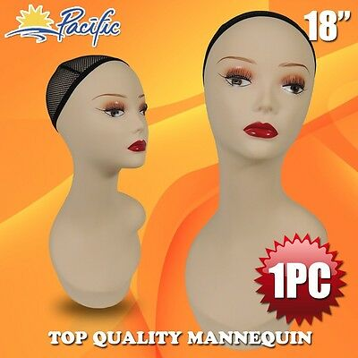 Realistic Plastic lifesize Female MANNEQUIN head display wig hat glasses PWED