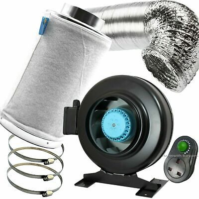 """6"""" PRO Air Odour Control Kit: Vortex Extractor In-Line Fan Carbon Filter Ducting"""