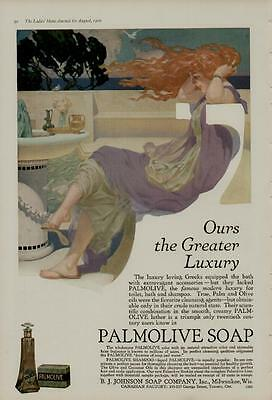 1916 Palmolive Soap Ad / The Luxury Loving Greeks - Sensational Artwork - Wow!