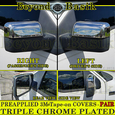 Ford F  F Triple Chrome Half Mirror Covers Overlay Power Mirrors