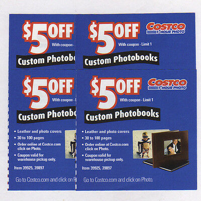 4 COSTCO PHOTOBOOK PHOTO BOOK $5.00 OFF COUPONS - NO EXPIRATION DATE $20 VALUE