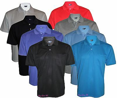 Men's T-Shirts Loose Fit PK Polo Plain With Pocket Polycotton Size S to 6XL