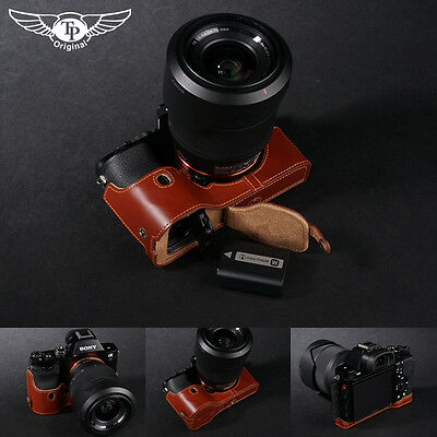 Genuine real Leather Half Camera Case bag cover for Sony A7 A7R A7S Bottom Open