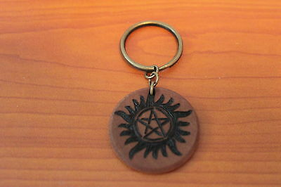 Supernatural Anti-Possession Symbol Wood-Burned Keychain