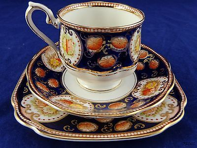 Royal Albert Crown China Tea Cup Saucer Plate Cobalt Rim, Scalloped, Gold Trim