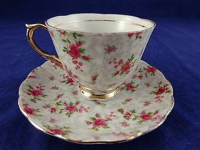 Original Napco China Hand Painted  Rose Bud Tea Cup and Saucer 1DD321