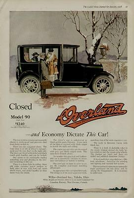 1918 WILLYS OVERLAND CAR AUTO AD / CLOSED MODEL 90 LIGHT FOUR - WINTER SCENE