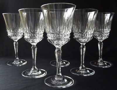 "SET OF 6 D'ARQUES /DURAND ""BARCELONA"" CRYSTAL 8oz WATER/ ICED TEA GOBLETS 7-1/2"""