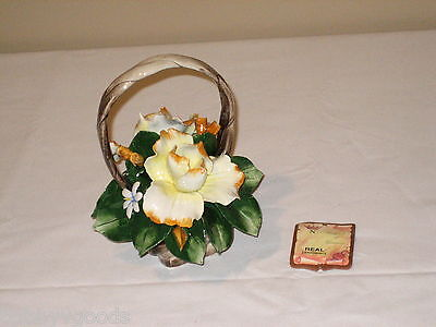 CAPODIMONTE FLOWER BASKET BOUQUET S. RIOLEVA MADE IN ITALY MINT CONDITION