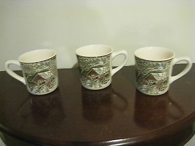 lot 3 Johnson Brothers the Friendly Village 3 1/4 Covered Bridge Mugs coffee cup
