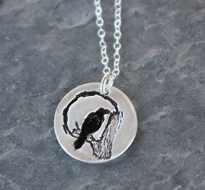 Raven and Moon Necklace - handmade fine silver disc with hand stamped bird