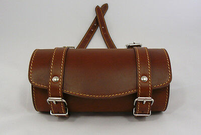 Leather Top Box Roll Tool Handlebar Bag 4 Piaggio Vespa Scooters, Vintage Brown