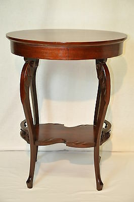 Rare Victorian  Oval Mahogany Side Table with Carved Acanthus Leaves, c. 1900's