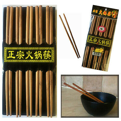 Traditional Brown 10 Pairs of Bamboo Chopsticks Wooden Re-usable Chopstick 9.5""