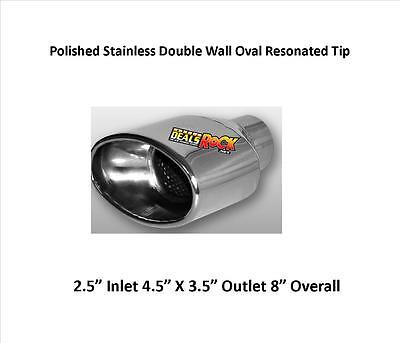 """Brand New Double Wall Oval Resonated Exhaust Tip 2.5"""" In 4.5"""" X 3.5"""" Out 8"""" L"""