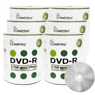 600-Pcs SmartBuy Blank DVD-R DVDR 16X 4.7GB Logo Top Surface Recordable Disc