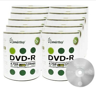 1000-Pack Grade A+ Smartbuy 16X DVD-R 4.7GB Logo Top Recordable Blank Media Disc
