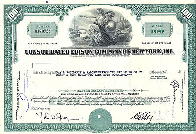 USA  Consolidated Edison Company of New York alte Aktie 1967