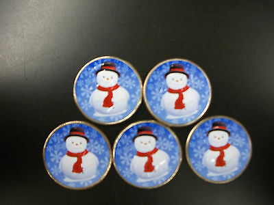 Five Colorized Frosty The Snowman Half Dollars
