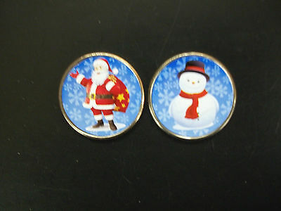 Santa Claus and Frosty The Snowman Colorized Half Dollars