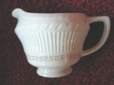 "Vintage SHENANGO CHINA Creamer with ribbed sides and light brown design 3"" tall"