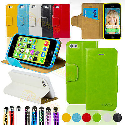 SAVFY HOUSSE COQUE ETUI POCHETTE LUXE CUIR Support +Stylet+ Film Pour iPhone 5C