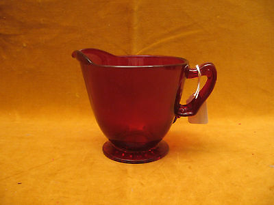 "RUBY RED GLASS CREAMER - 3 1/4"" TALL & 3 1/2 IN DIAMETER"