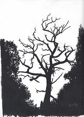 Pencil B&W ~~ TREE in SHADOW ~~ Professional 9 by 12 Print  **FREE SHIPPING**