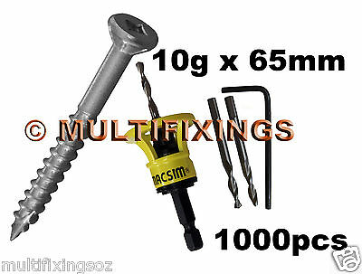 1000pcs - 10g x 65mm Stainless Steel SS304 Decking Screws + Macsim Clever Tool
