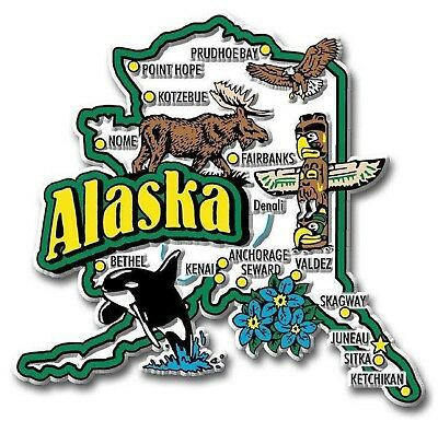 Alaska Jumbo State Map Fridge Magnet