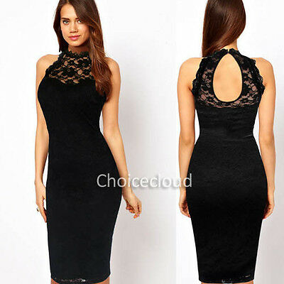 Womens Open Cut Out Back Lace Crochet Clubwear Cocktail Party Bodycon Midi Dress