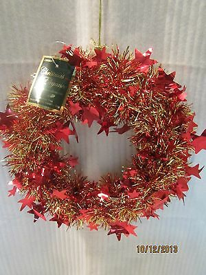 """10"""" GOLD & RED TINSEL W/RED STARS WREATH, NEW                         B52"""
