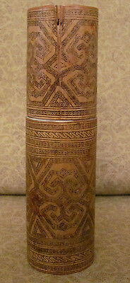 Old or Antique Tribal Oceanic Bamboo Box Lime Container