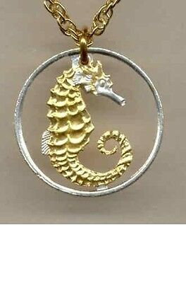 Gold & Silver Cut Coin Jewelry necklace Singapore 10 cent Sea horse