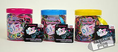Loom Bands Refill 3 Cans Rainbow Colors Rubberbands 3600 Pcs + 144 S Clips Tub
